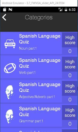 Spanish Language Quiz- screenshot