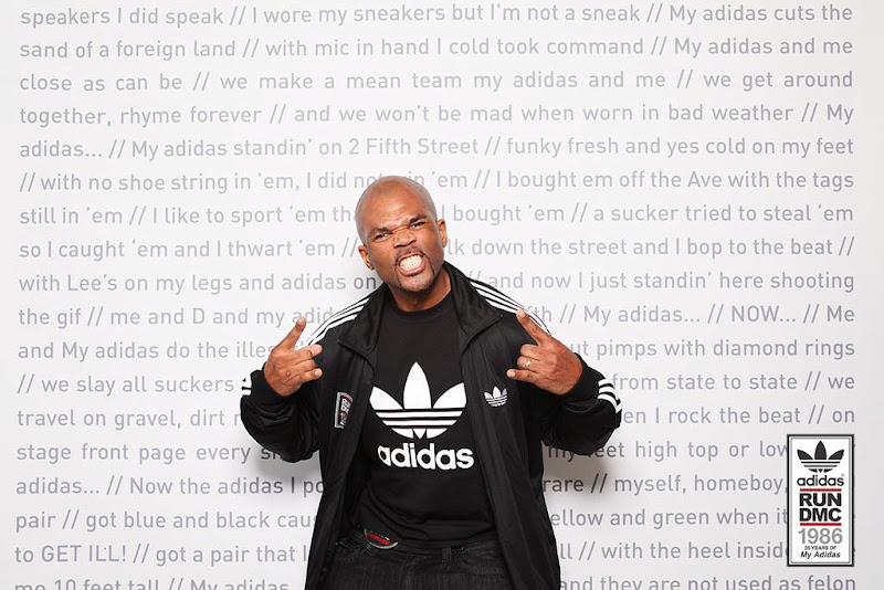 """Photo: """"We make a mean team my adidas and me we get around together, rhyme forever and we won't be mad when worn in bad weather My adidas..."""" -RUN DMC-"""