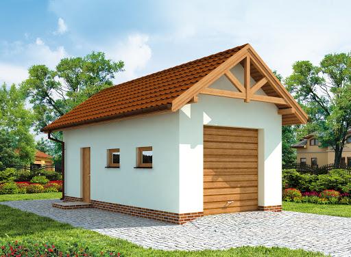 projekt G203 szkielet drewniany garaż jednostanowiskowy
