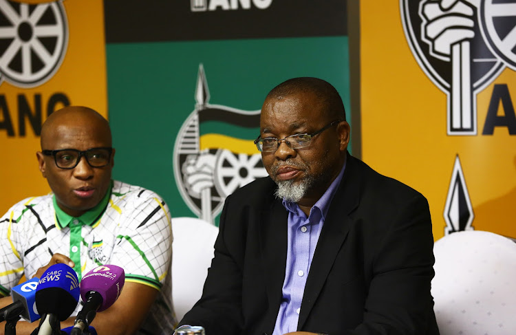 Secretary General of the ANC Gwede Mantashe sits next to ANC National Spokesperson Zizi Kodwa during a media briefing about the outcomes of the special ANC NEC meeting held at St Georges Hotel in Irene.