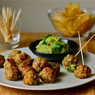 Mini Pork-Cheddar Meatballs with Guacamole