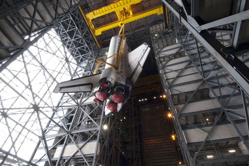 It will be attached to its external fuel tank and solid rocket boosters positioned on the mobile launcher platform.