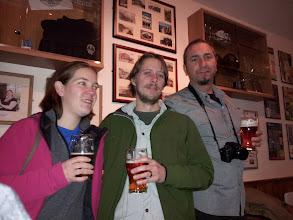 Photo: Siobhan, Owen DeFrancesco and Alan Raines enjoy a pint of Harvest Pale Ale in the Castle Rock tap.