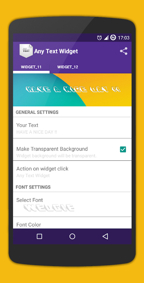 Simple Text Widget (Any Text)- screenshot