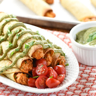 Baked Chicken Taquitos with Avocado Cilantro Dipping Sauce