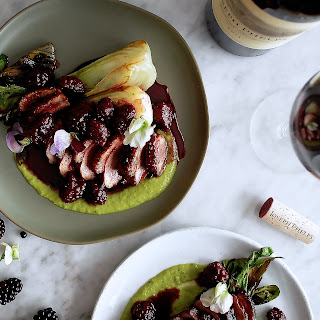 Spiced Duck Breast with Basil Pea Puree & Soy Glazed Blackberries.