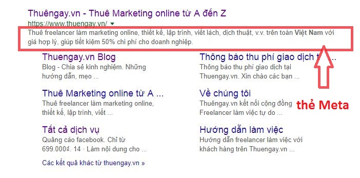 Thẻ meta mô tả nội dung của website
