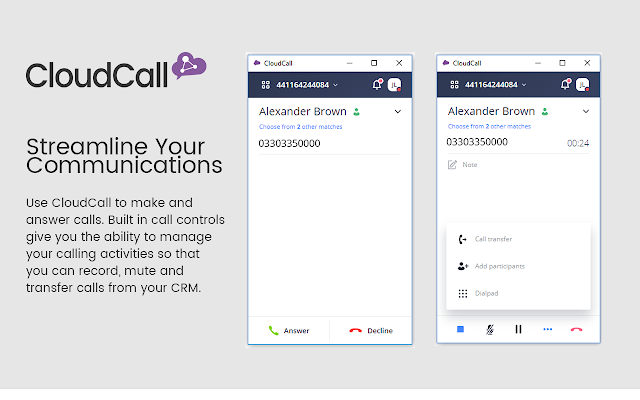 CloudCall Unified Communications for CRM