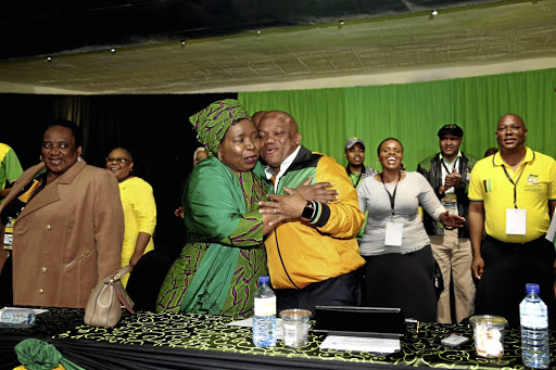 A jubilant Nkosazana Dlamini-Zuma is greeted by Sihle Zikalala at the KwaZulu-Natal ANC's PGC after she was nominated as its presidential candidate.