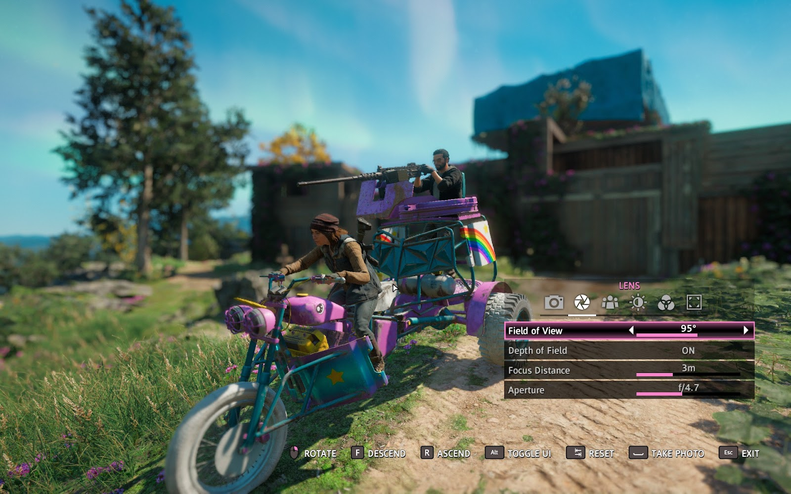 Photo mode interface and a picture of the main character riding a pink bike