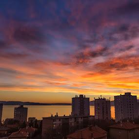 Sunset in Rijeka by Ivica Bajčić - Landscapes Sunsets & Sunrises ( rijeka, colors, ivicabajcicphotography, sunset, croatia, landscape, sun, photography, golden hour )
