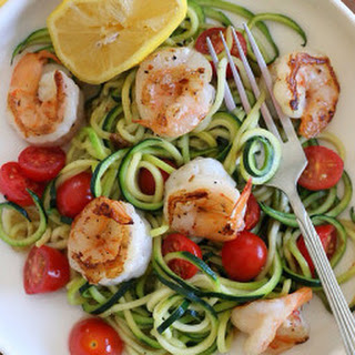 Zucchini Noodles With Lemon-Garlic Spicy Shrimp.