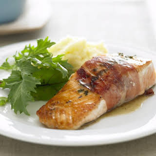 Pan Fried Salmon with Prosciutto and Thyme.
