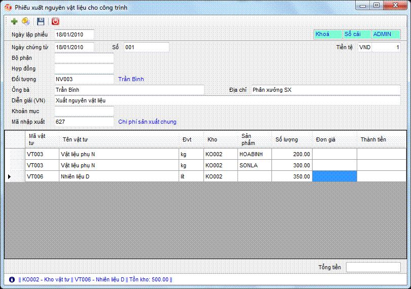 Phiếu xuất nguyên vật liệu cho công trình phần mềm kế toán 3tsoft