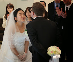Photo: Kyungmi & Michael Laveck making smoochy faces post-vows More at: https://plus.google.com/photos/105999634356572746040/albums/5848522808994010497?authkey=CKbM0_zIo73r9QE