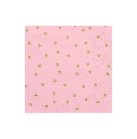 Servetter - Ljusrosa med guldstjärnor