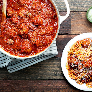 Gramma Pandolfi's Pasta Sauce with Meatballs recipe | Epicurious.com.
