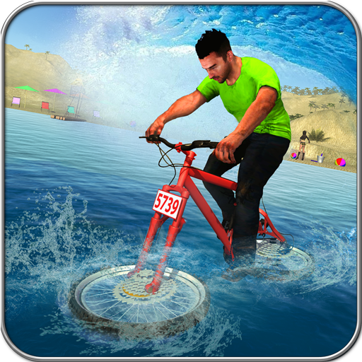 Beach Water Surfer Bicycle Racing Track Rider