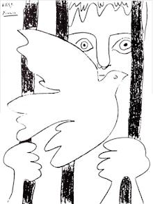 Picasso: Friedenstaube, Frau hinter Gittern.