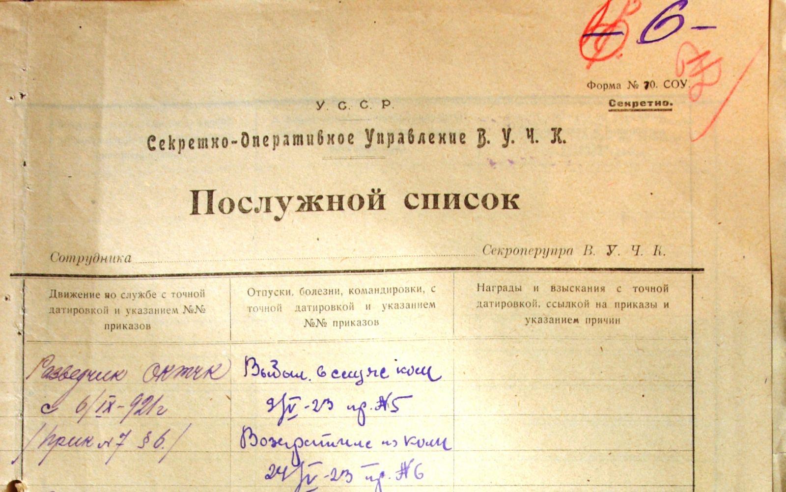 «Шапка» першого послужного списку чекіста Кисельова. Чомусь без прізвища