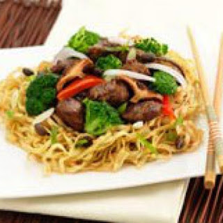 "Vegetarian ""beef"" And Broccoli With Chow Mein Noodles."