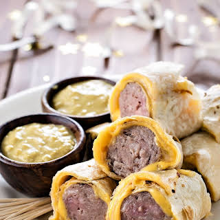 Tortilla Wrapped Bratwursts with Beer Mustard.