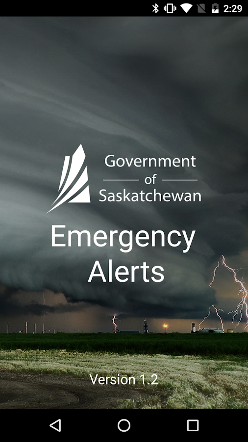 Saskatchewan Emergency Alert- screenshot