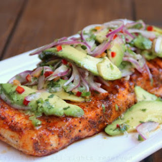 Grilled Salmon With Avocado Salsa.