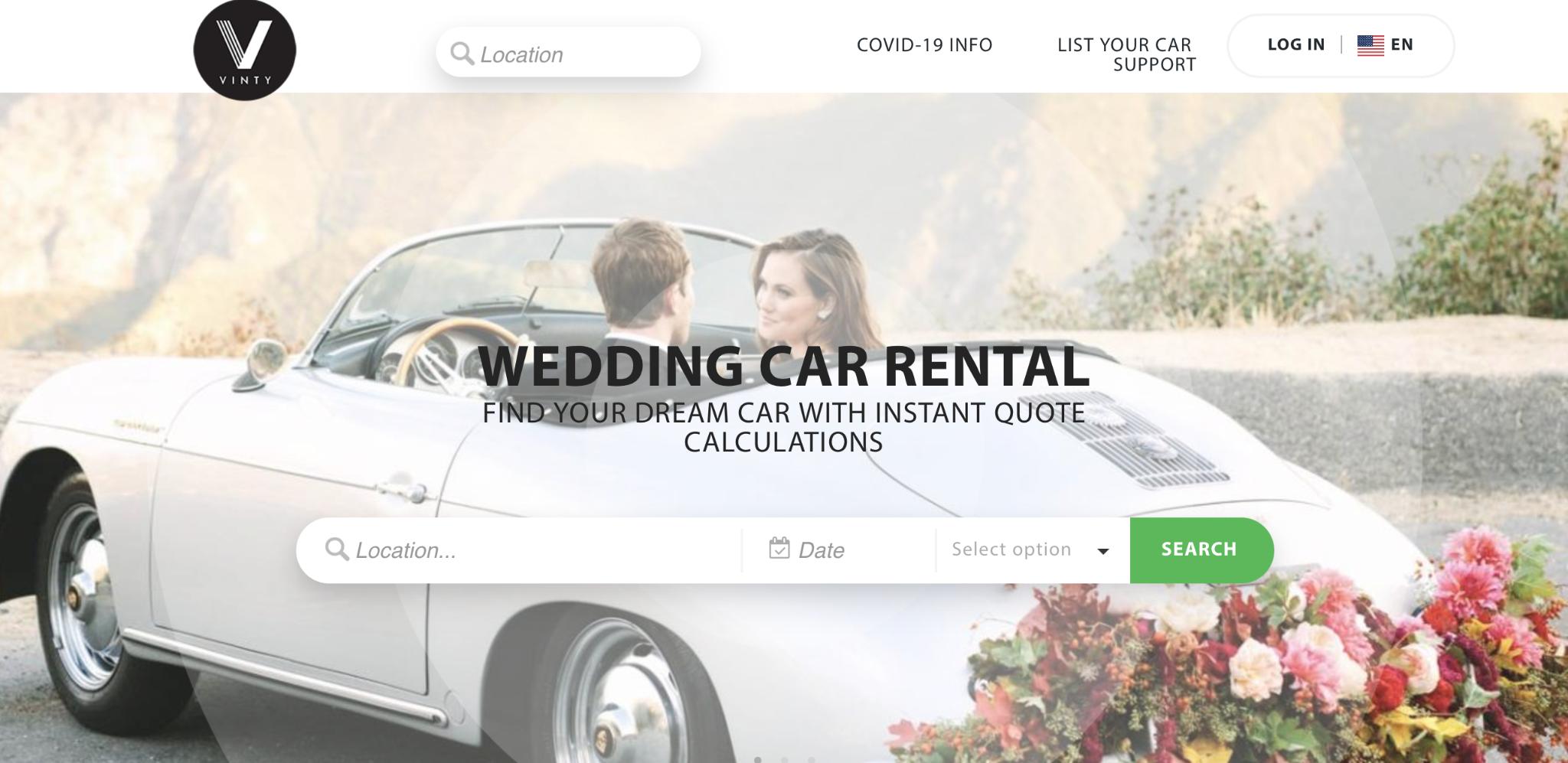 Vinty wedding car rental companies