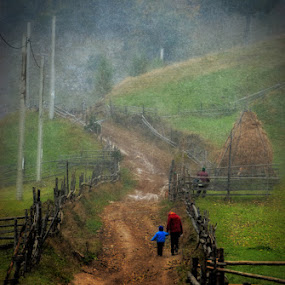 by Veronica Gafton - Landscapes Travel ( country side path child green mother children way fog fence mountain hill )
