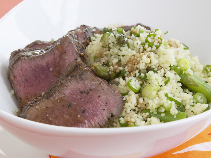 Grilled Lamb Loin with Roast Asparagus Couscous Recipe