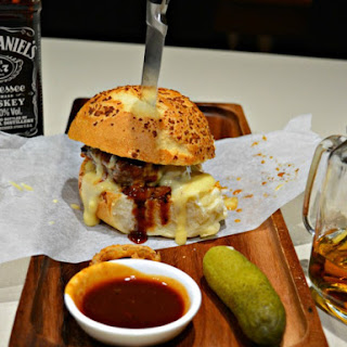 Jack Daniels Burgers with Smoky Cheese Sauce.