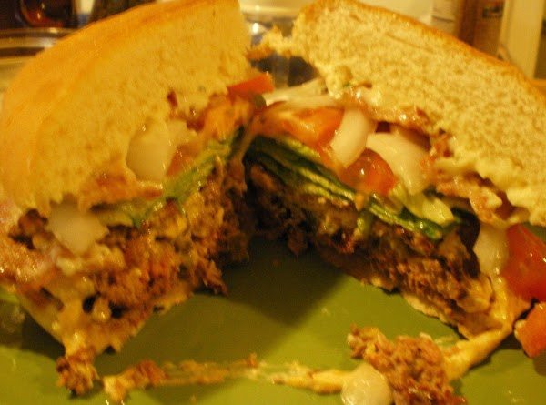 Assemble burger with your favorite veggies - I chose lettuce, tomato and onion. ...