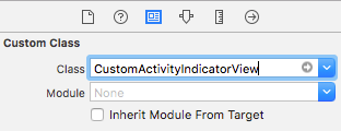 Change the Custom Class to CustomActivityIndicatorView in the Identity Inspector