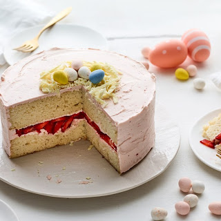 Easter Egg Cake with Strawberry Frosting.