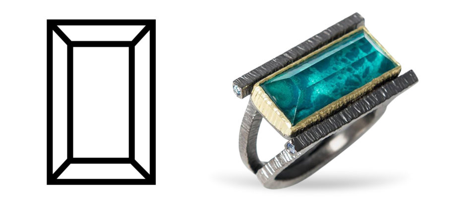 Chrysocolla doublet geometrical gold cocktail ring