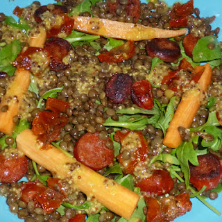 Puy Lentil, Pickled Carrot and Chorizo Salad with a Wholegrain Mustard Dressing
