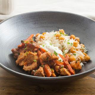 Harissa Chicken & Carrots with Dates & Crispy Chickpea Rice