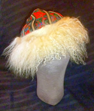 Photo: <KAPELUXE> Unique-Chique Hats by Luba Bilash ART & ADORNMENT  Ivory wool felt base, Mongolian lamb, vintage machine-embroidered ribbon, 360 degree possibilities. Can also be worn on an angle. Size M - 54 cm/21 in $85