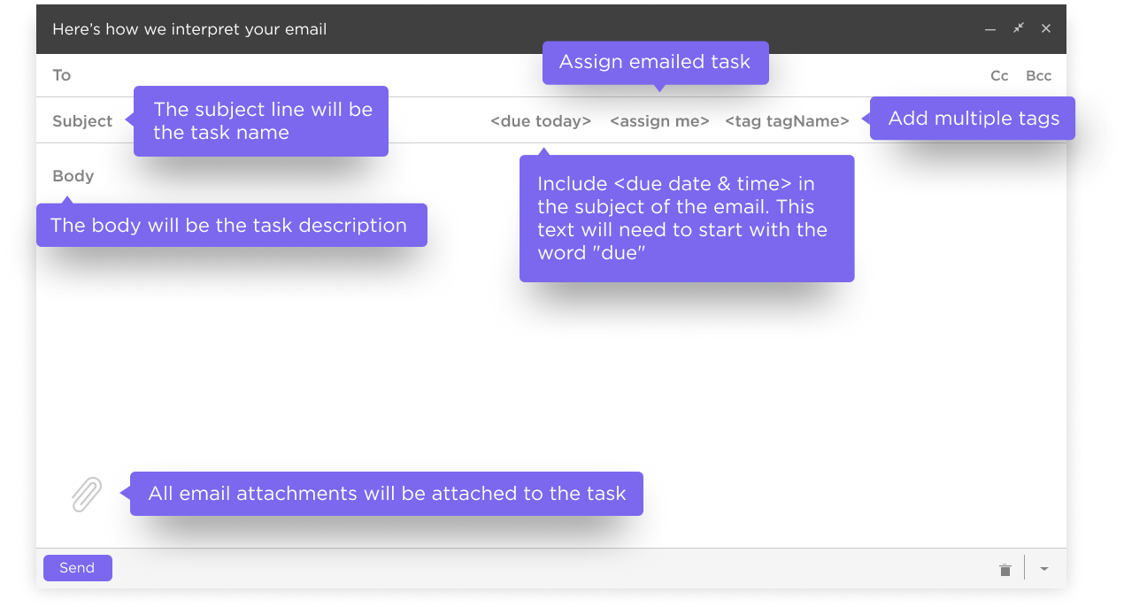creating tasks with email in clickup