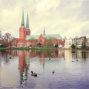 Lubeck, Germany by Inna Fangel - Uncategorized All Uncategorized ( water, lubeck, sky, cathedral, germany, city )
