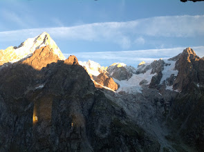 Photo: Directly across from the Rifugio, Les Grandes Jorasses also catch first light.