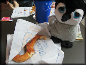 Photo: Enjoying a pretzel snack.