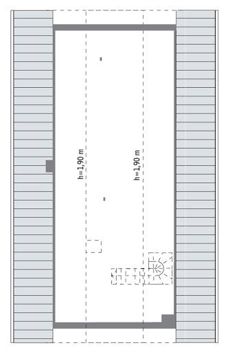 Lubiany - C281 - Rzut poddasza do indywidualnej adaptacji (57,4 m2 powierzchni użytkowej)