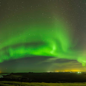 Lighthouse by Ruslan Stepanov - Landscapes Starscapes ( iceland, sky, stars, northern lights, aurora borealis, lighthouse, ocean )