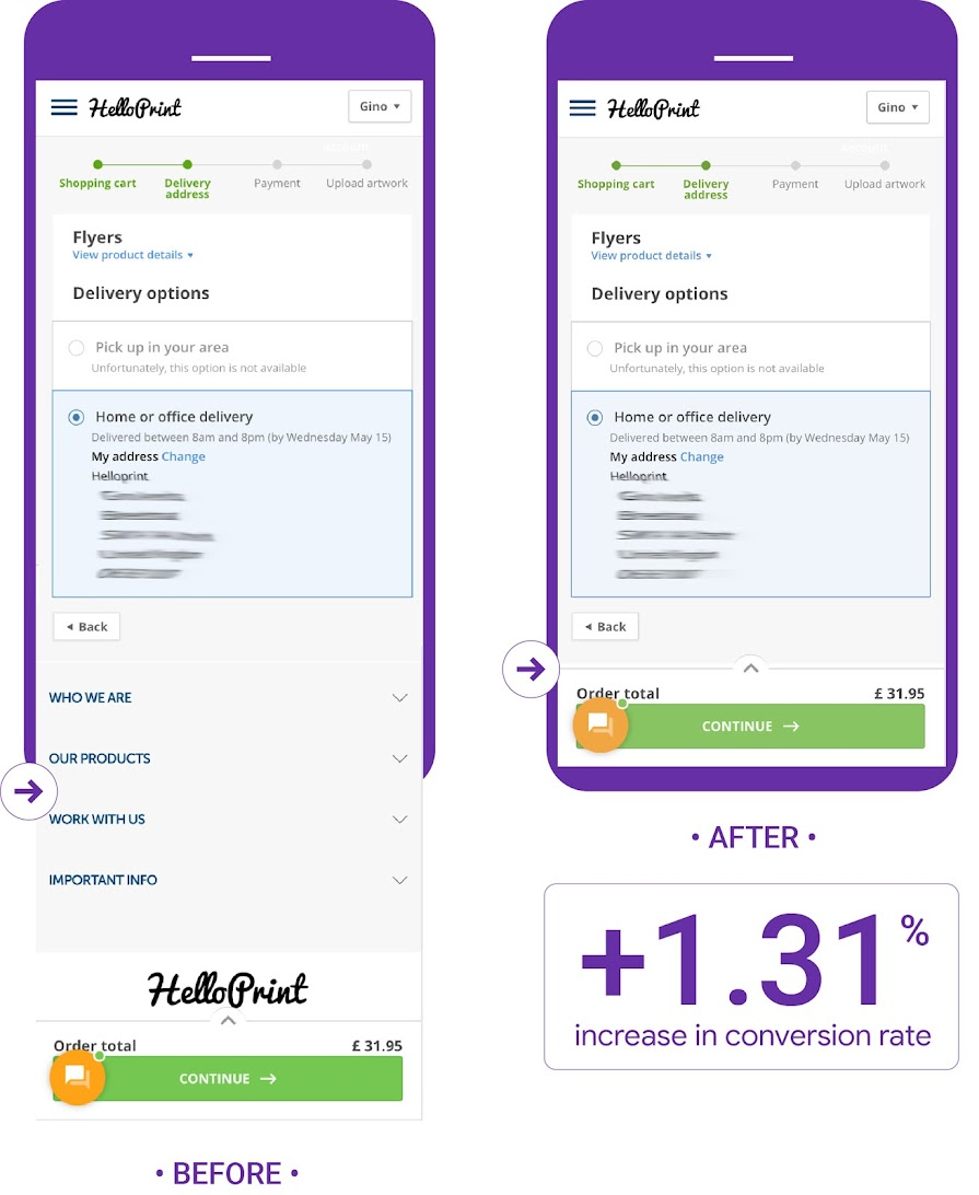Helloprint tested removing footer in checkout