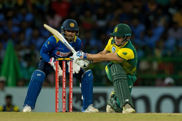 David Miller of South Africa playing a shot during the one off T20 International between Sri Lanka and South Africa at R. Premadasa Stadium on August 14, 2018 in Colombo, Sri Lanka.