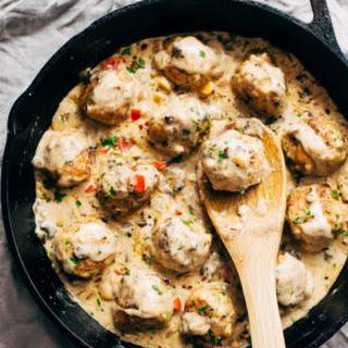 Cajun Chicken Meatballs in Tasty Cream Sauce.