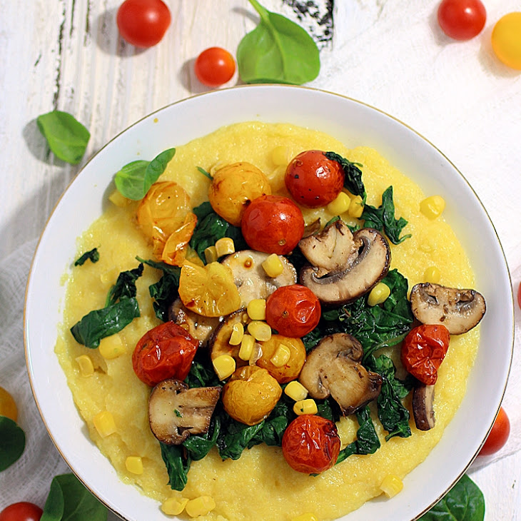 Creamy Polenta with Roasted Tomatoes, Mushrooms, and Spinach Recipe ...